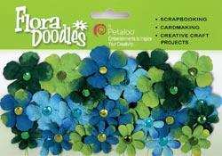 Flora Doodle-Tie Die-Light Blue, Dark Blue, Green, Chartreuse