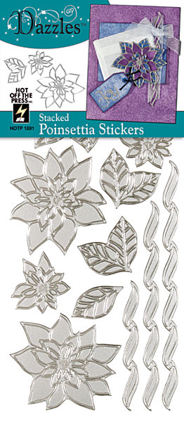 Stickers-Stacker Dazzlers-Poinsettia-Silver